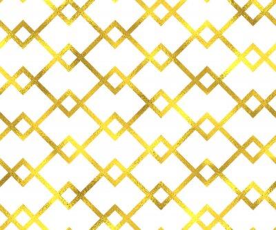 Canvas print Gold vintage foil geometric seamless pattern background