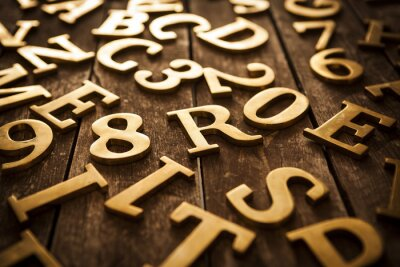 Canvas print Golden Letters