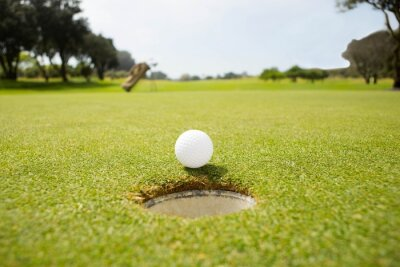 Canvas print Golf ball at the edge of the hole