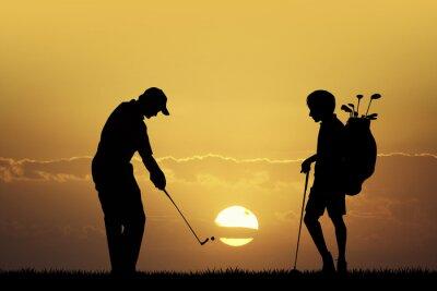 Canvas print Golf tournament at sunset
