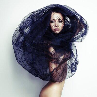 Canvas print Gorgeous lady under veil