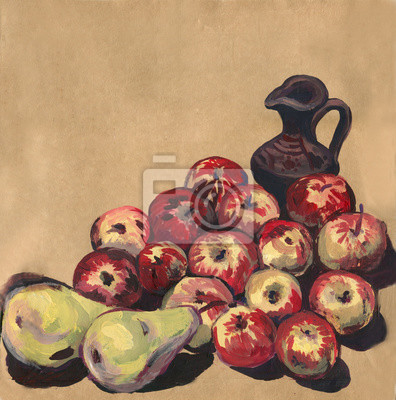 Gouache. Painting. Still life with fruit. Jug, apples, pears