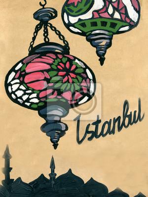 Gouache. Vintage painting. Eastern Turkish lantern