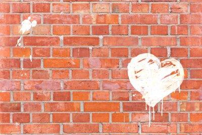 Canvas print Graffiti-Herz auf eine Mauer gerendert mit Platz für Text