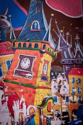 Canvas print Graffiti maison aux couleurs vives