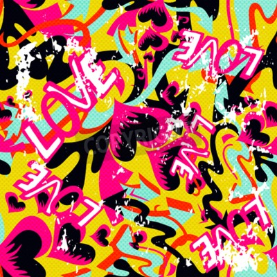 Canvas print graffiti Valentine Day seamless background grunge texture