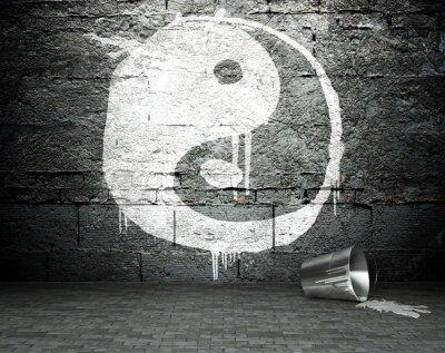 Canvas print Graffiti wall with yin yang, street background