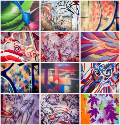 Canvas print Graffitis colorés