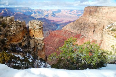 Canvas print Grand Canyon panorama view in winter with snow