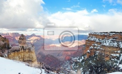 Grand Canyon panorama view in winter with snow