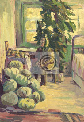 Grandma and pumpkins in the interior. Oil painting