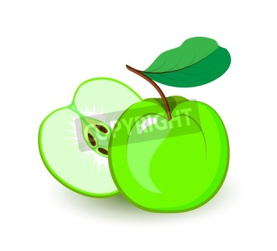 Green apple icon. Fruits and vegetables collection
