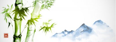 Canvas print Green bamboo and far blue mountains on white background.Traditional Japanese ink wash painting sumi-e. Hieroglyph - eternity.