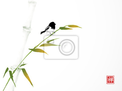 Green bamboo tree and little bird hand drawn with ink in minimalist style on white background. Traditional oriental ink painting sumi-e, u-sin, go-hua. Hieroglyph - zen