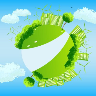 Green globe with trees, sities and wind turbines.