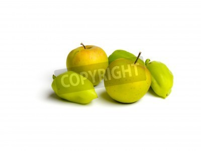 Green paprika and apple isolated. Fruits and vegetable
