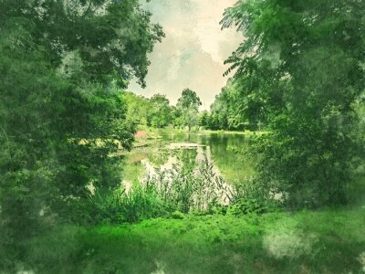 Canvas print Green park and lake in Amsterdam. Watercolor. Oil painting style.