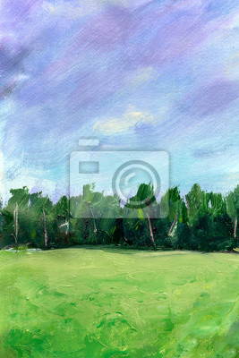 Green summer landscape Oil painting on canvas handmade artwork. Colorful forest and field texture illustration. Modern artwork. Strokes of fat paint. Brushstrokes Modern Contemporary art Artistic
