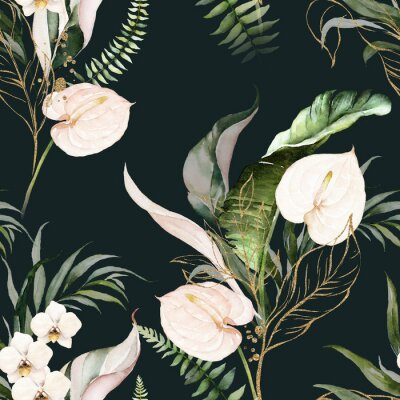 Canvas print Green tropical leaves and blush flowers on dark background. Watercolor hand painted seamless pattern. Floral tropic illustration. Jungle foliage.