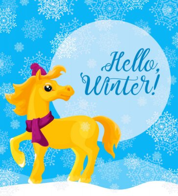 """Greeting card """"Hello, winter!"""" with a yellow horse in a winter cap and scarf and snowflakes. Vector"""