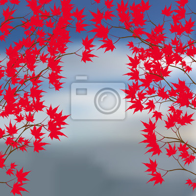 Greeting card of the autumn landscape. Red maple leaves on the branches on either side. Japanese red maple on a background of the sea illustration