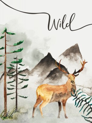 Canvas print Greeting card with background of forest and mountains. Children's theme. Postcard with Deer. Wildlife