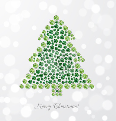 Greeting card with Christmas tree made of jewels