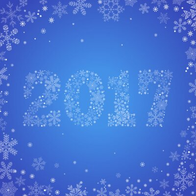 Greeting Christmas card with a symbol of new 2017. The emblem of the new year from a variety of snowflakes on a light blue background.