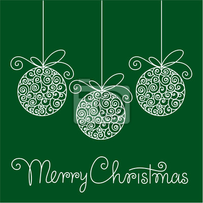 greeting christmas card with balls and hand lettering