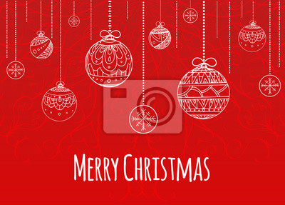 Greeting Christmas card with balls decorated doodle pattern