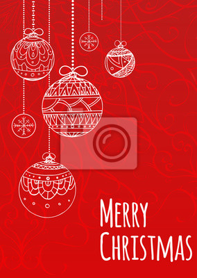 Greeting Christmas card with balls decorated doodle pattern for your creativity