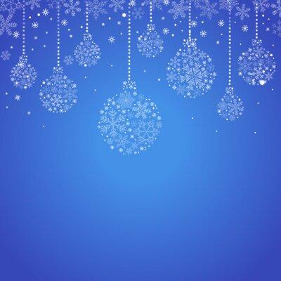 Greeting, christmas card with Christmas balls and snowflakes.