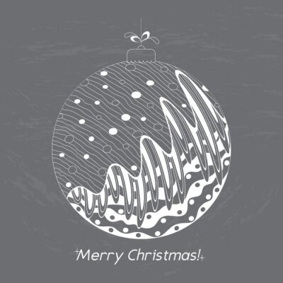 Greeting Christmas card with doodle decorative elements. Hand drawn ball on the chalkboard. White pattern holiday greeting or invitation cards, print, wrapping paper. Vector illustration.