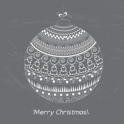 Greeting Christmas card with doodle decorative elements: Hand drawn ball on the circuit board. White pattern holiday greeting or invitation cards, print, wrapping paper. Vector illustration.