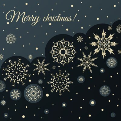 Greeting Christmas card with Golden snowflakes on a black background. Vector
