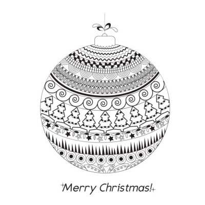 Greeting Christmas card  with Hand drawn ball with doodle decorative elements. Black and white pattern holiday greeting or invitation cards, print, wrapping paper, coloring book. Vector illustration.