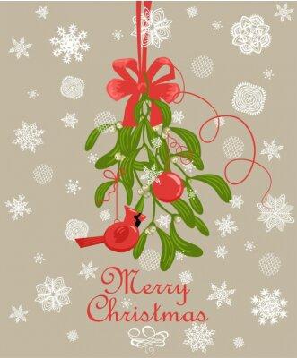 Greeting Christmas card with hanging decoration with bunch of mistletoe with berries, red bow and baubles, redbird toy and paper cutting snowflakes