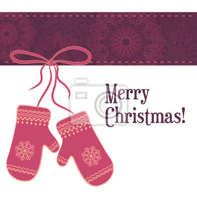 Greeting Christmas card with pattern of snowflakes and mittens
