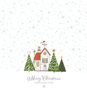 Greeting christmas card with small snow covered house and three christmas tree on white background with snowflakes