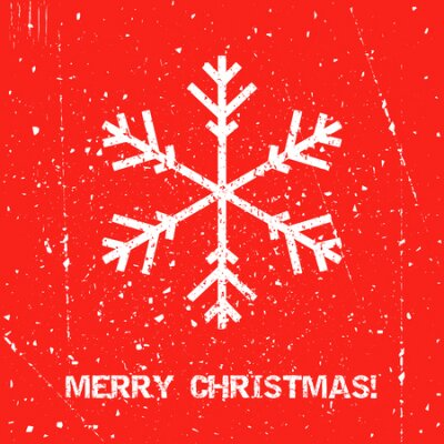 Greeting Christmas card with snowflake with grunge texture. Holiday banner. Vintage poster.