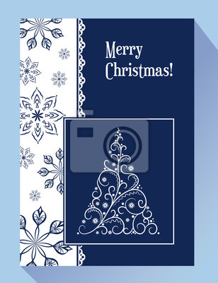 Greeting Christmas card with snowflakes and decorative Christmas tree