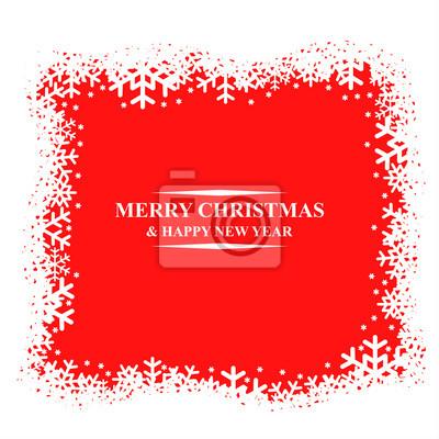 Greeting Christmas card with snowflakes border