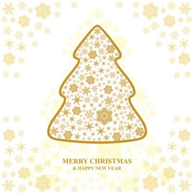 Greeting Christmas card with snowflakes fir
