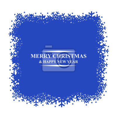 Greeting Christmas card with snowflakes frame