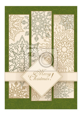 Canvas print Greeting Christmas card with snowflakes on a green background with the inscription in the diamond