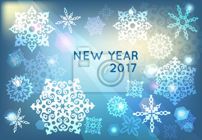 greeting Christmas card with snowflakes on blue background
