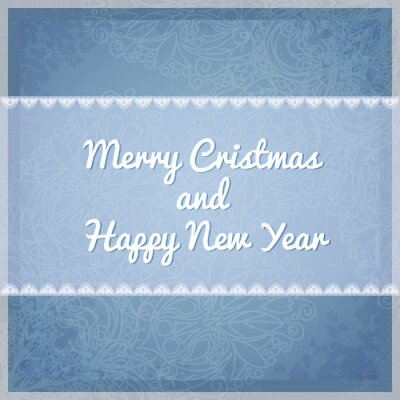 Greeting Christmas card with snowflakes pattern