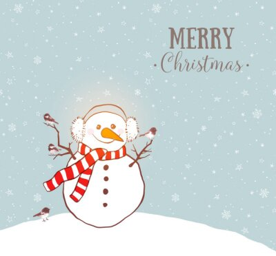 Greeting christmas card with snowman in earmuffs and scarf and little birds on winter sky background with snowflakes