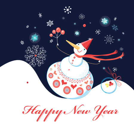 Greeting christmas card with snowman on a dark blue background with snowflakes