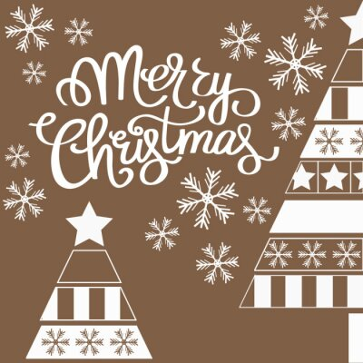 Greeting Christmas card with the words and illustrations of snowflakes and Christmas trees in white and brown colors.